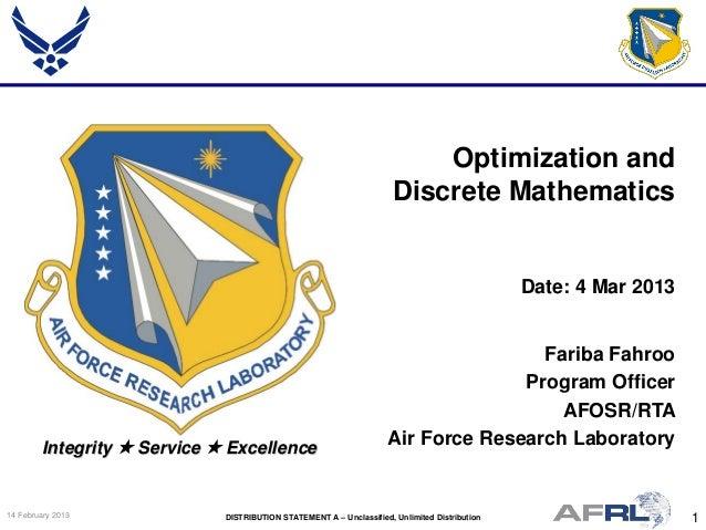 Fahroo - Optimization and Discrete Mathematics - Spring Review 2013