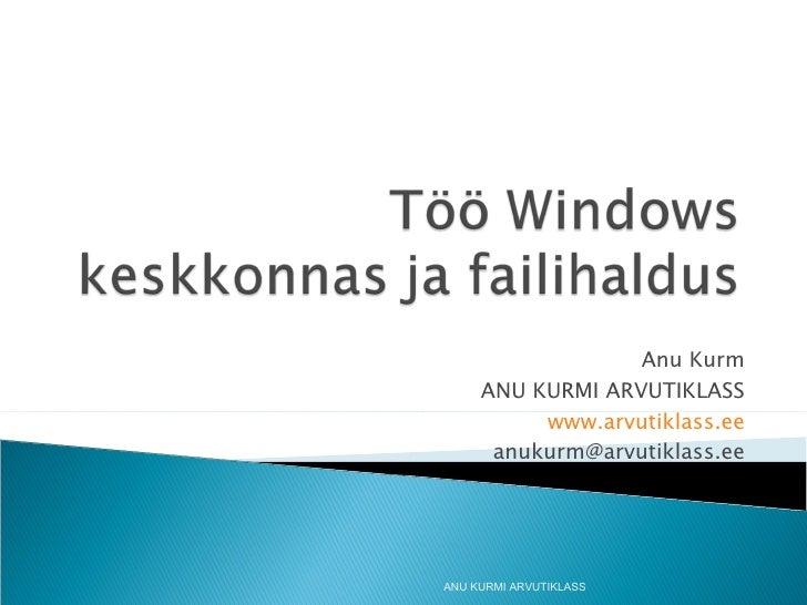 Anu Kurm ANU KURMI ARVUTIKLASS www.arvutiklass.ee [email_address] ANU KURMI ARVUTIKLASS