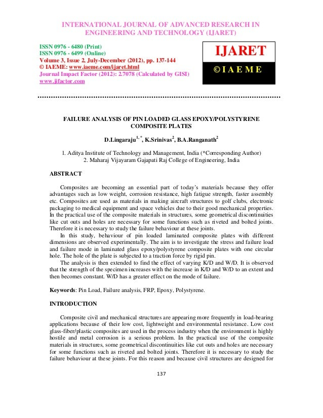 Failure analysis of pin loaded glass epoxy polystyrene composite plates