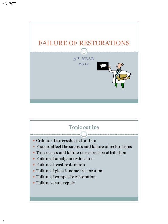 14/06/33  FAILURE OF RESTORATIONS 5 T H YEA R 2 012  Topic outline  Criteria of successful restoration  Factors affect t...