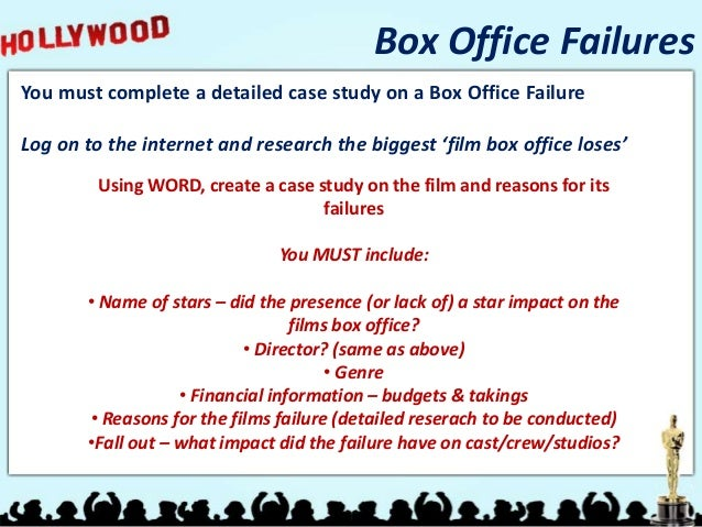 Box Office FailuresYou must complete a detailed case study on a Box Office FailureLog on to the internet and research the ...