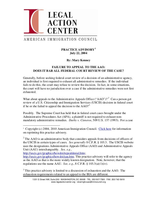 Failure to appeal to the aao   does it bar all federal court review of the immigration  case