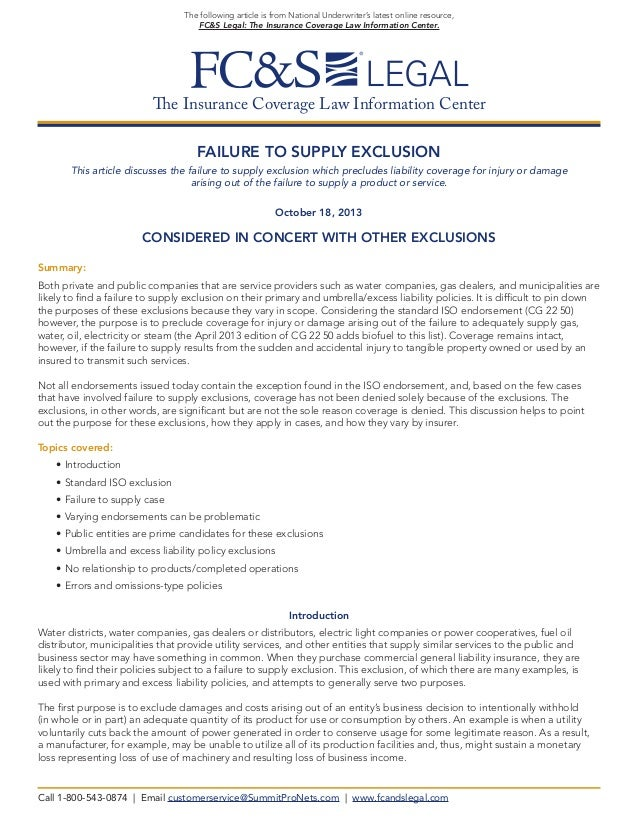 Failure to Supply Exclusion (from FC&S Legal)