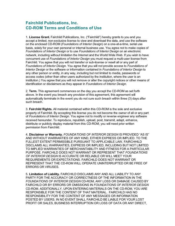 """FairchildPublications,Inc.CDROMTermsandConditionsofUse1. LicenseGrant. FairchildPublications,Inc.(""""Fairchild..."""