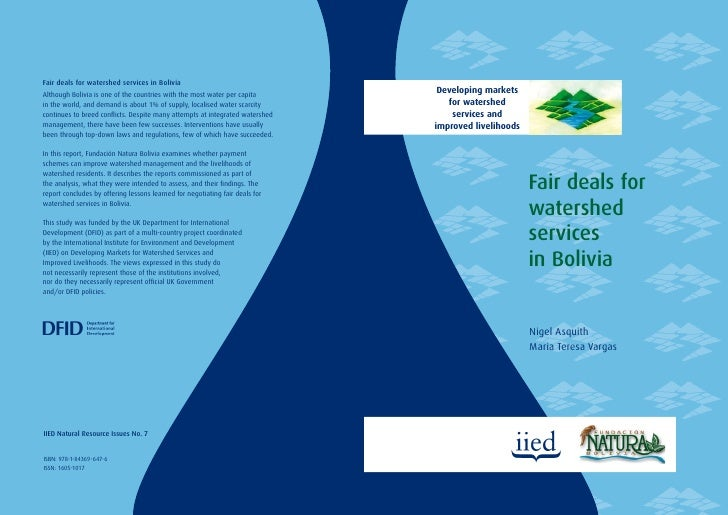 Developing markets    for watershed     services and improved livelihoods                            Fair deals for       ...