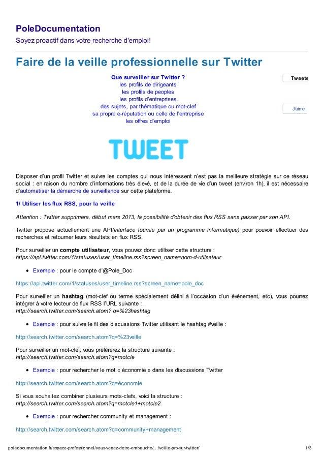 Faire de la veille pro avec twitter   pole documentation