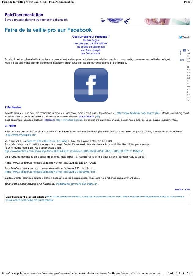 Faire de la veille pro sur Facebook