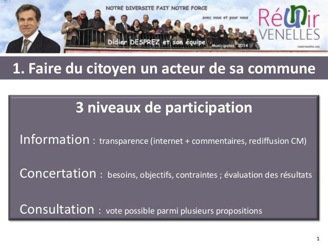 1. Faire du citoyen un acteur de sa commune 3 niveaux de participation Information : transparence (internet + commentaires...