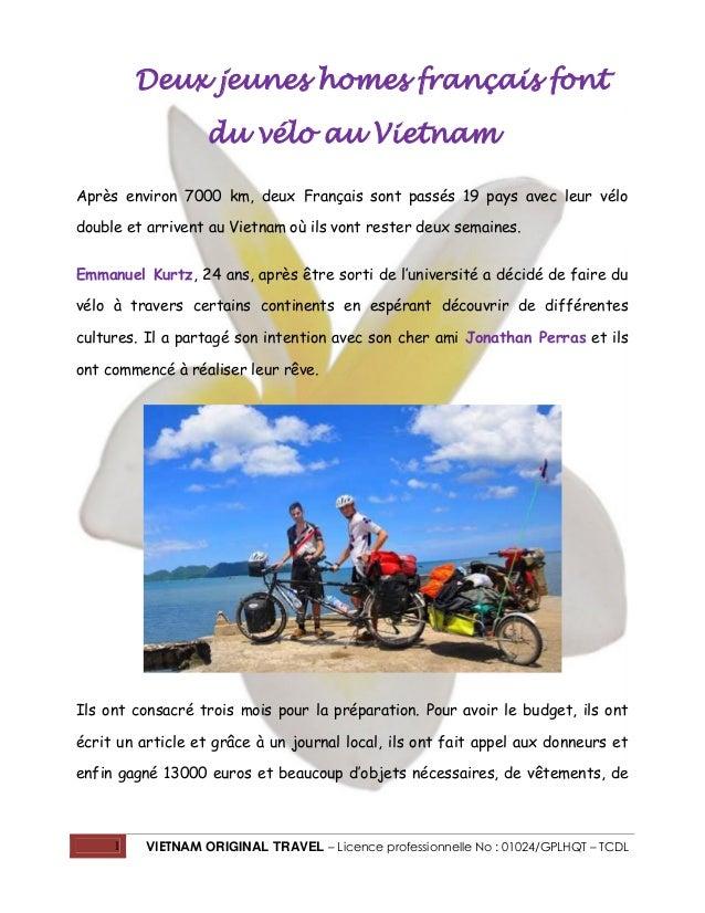 1 VIETNAM ORIGINAL TRAVEL – Licence professionnelle No : 01024/GPLHQT – TCDL Deux jeunes homes français font du vélo au Vi...