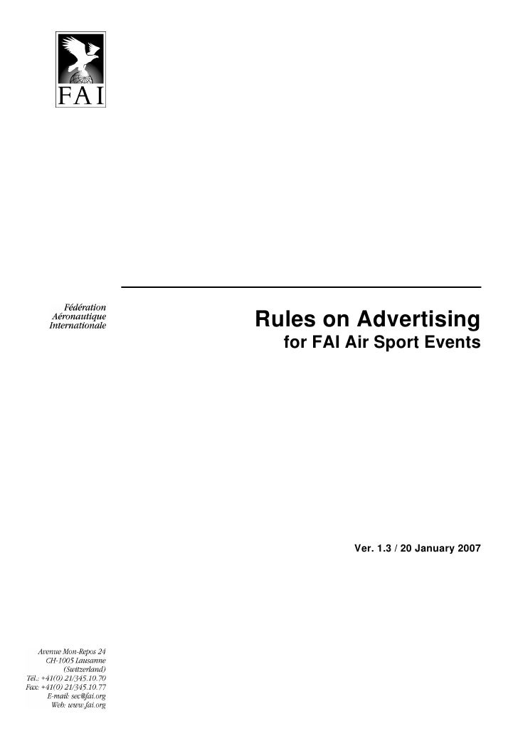 Rules on Advertising   for FAI Air Sport Events               Ver. 1.3 / 20 January 2007