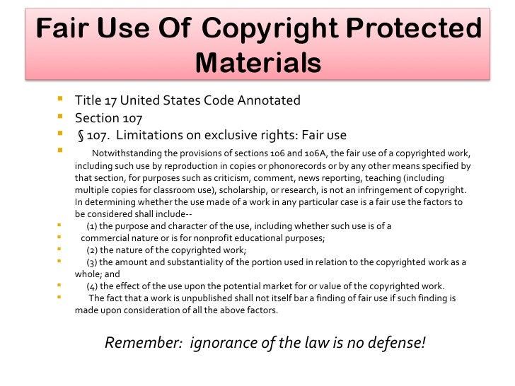 <ul><li>Title 17 United States Code Annotated  </li></ul><ul><li>Section 107 </li></ul><ul><li>§ 107.  Limitations on excl...