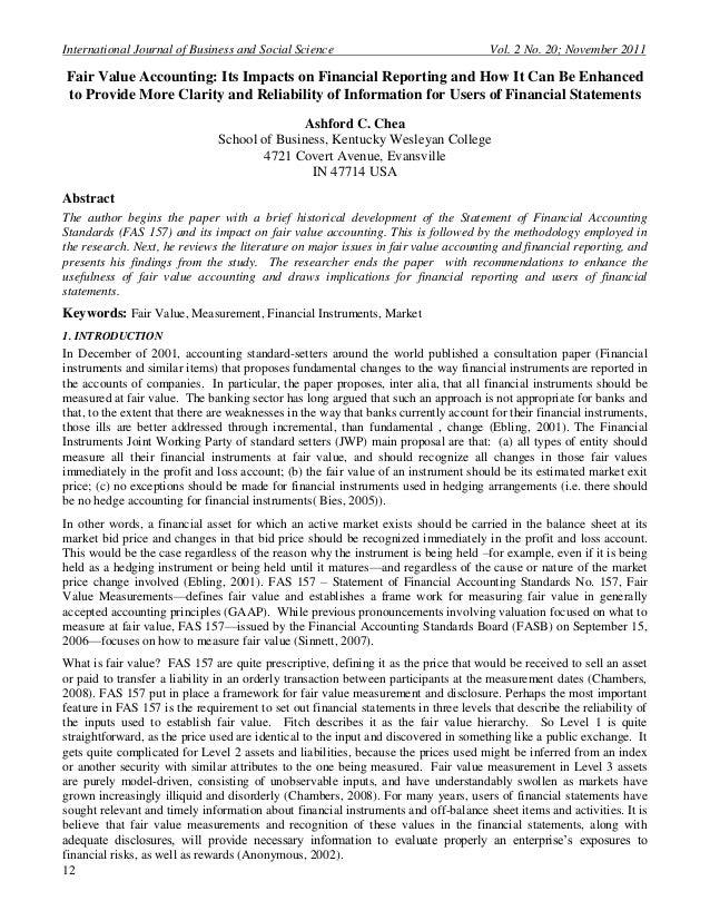 International Journal of Business and Social Science                                  Vol. 2 No. 20; November 2011Fair Val...