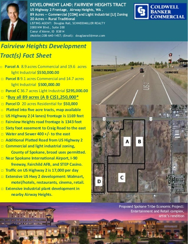 Fairview Heights Development Tract(s) Fact Sheet □ Parcel A 8.9 acres Commercial and 19.6 acres light Industrial $550,000....
