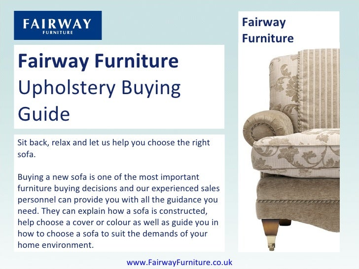 Fairway Furniture - Upholstery Buying Guide