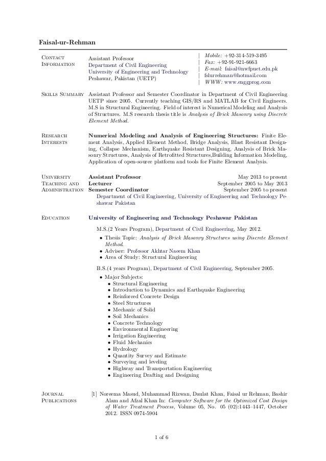 Faisal-ur-Rehman Contact Information  Assistant Professor Department of Civil Engineering University of Engineering and Te...