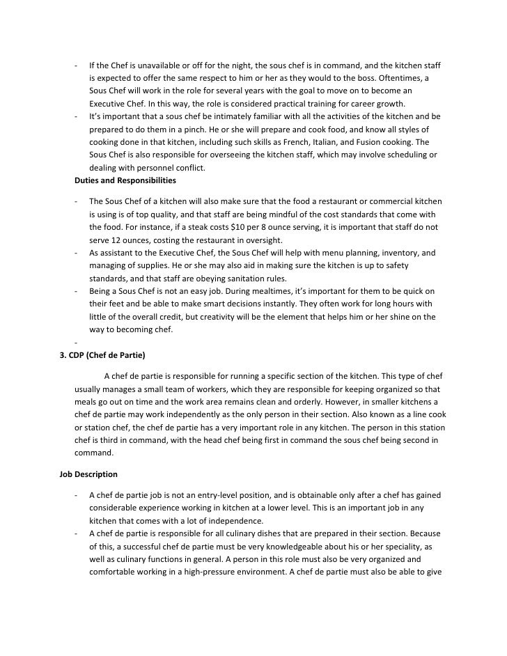 responsibilities of a chef - Roho.4senses.co