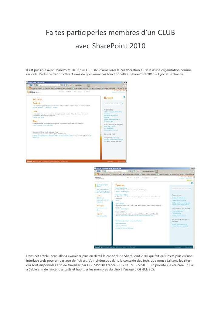 Faites participer vos équipes avec share point 2010