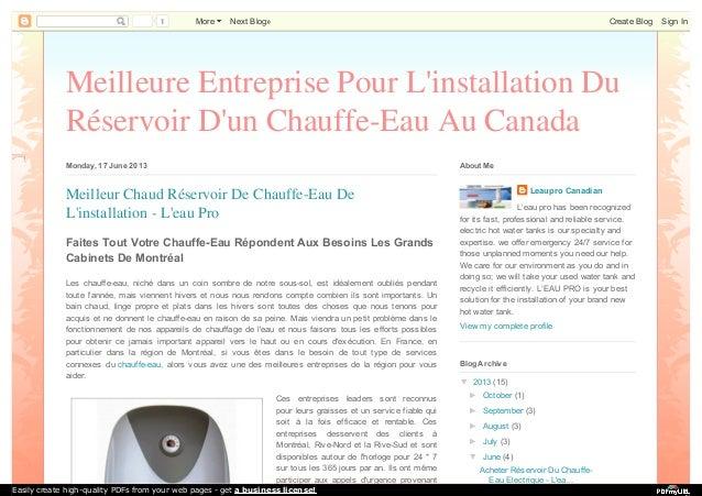 1 More Next Blog» Create Blog Sign In  Meilleure Entreprise Pour L'installation Du  Réservoir D'un Chauffe-Eau Au Canada  ...