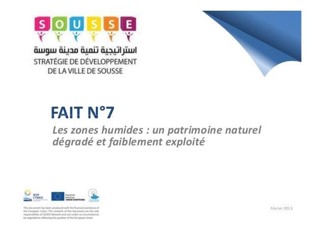 FAIT N°7FAIT N°7Les zones humides : un patrimoine natureldégradé et faiblement exploitéFévrier 2013