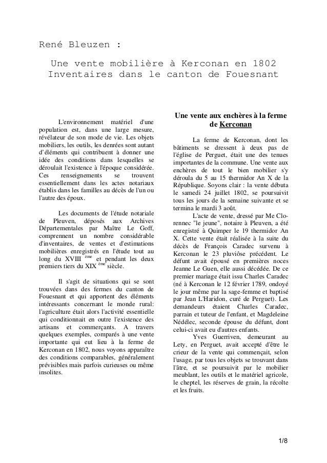 René Bleuzen : Une vente mobilière à Kerconan en 1802 Inventaires dans le canton de Fouesnant  L'environnement matériel d'...