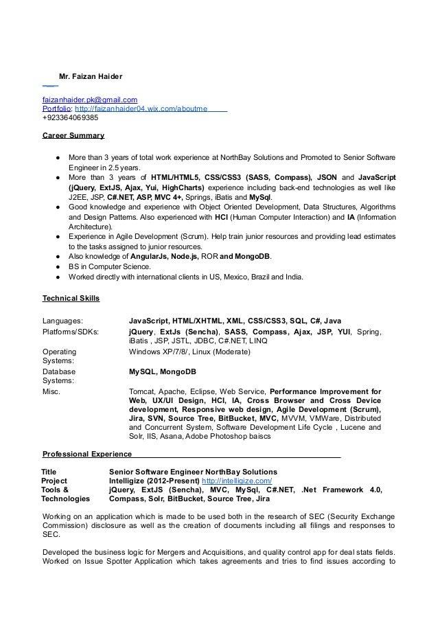 Mr. Faizan Haider faizanhaider.pk@gmail.com Portfolio: http://faizanhaider04.wix.com/aboutme +923364069385 Career Summary ...