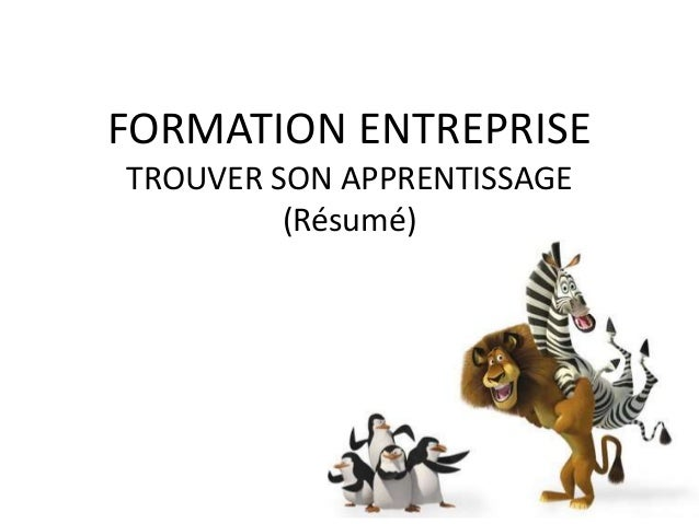 FORMATION ENTREPRISETROUVER SON APPRENTISSAGE         (Résumé)
