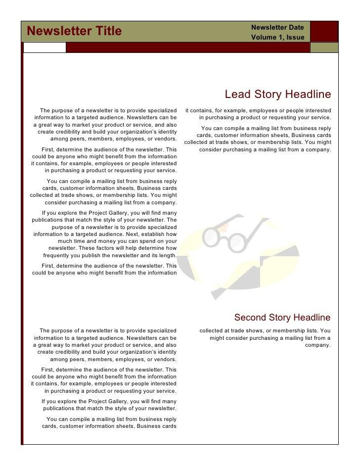 Newsletter DateNewsletter Title                                                                        Volume 1, Issue    ...