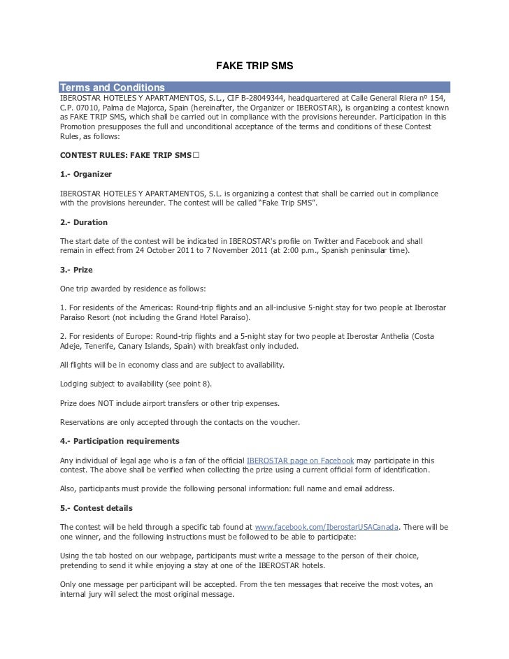 FAKE TRIP SMS Terms and Conditions