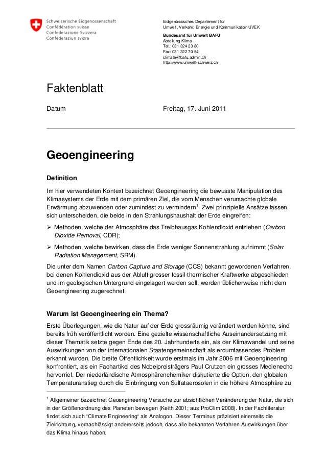 Faktenblatt geoengineering