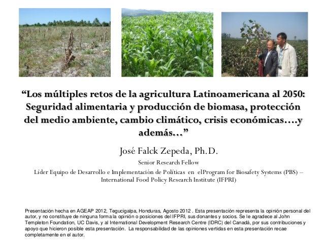 """""""Los múltiples retos de la agricultura Latinoamericana al 2050: Seguridad alimentaria y producción de biomasa, protección ..."""