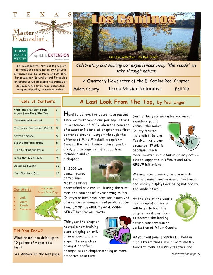 Time for Reflection   by Don Travis    The Texas Master Naturalist program          Celebrating and sharing our experience...