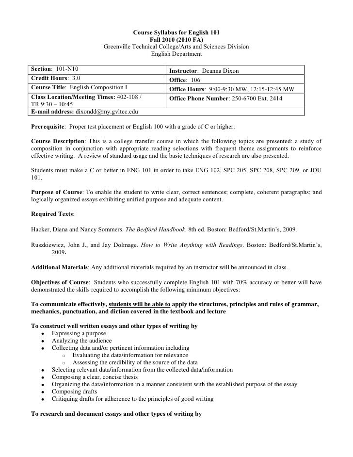 Course Syllabus for English 101<br />Fall 2010 (2010 FA)<br />Greenville Technical College/Arts and Sciences Division<br /...