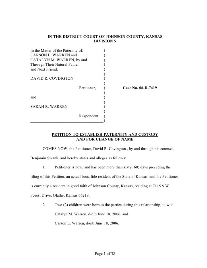IN THE DISTRICT COURT OF JOHNSON COUNTY, KANSAS                                DIVISION 5In the Matter of the Paternity of...