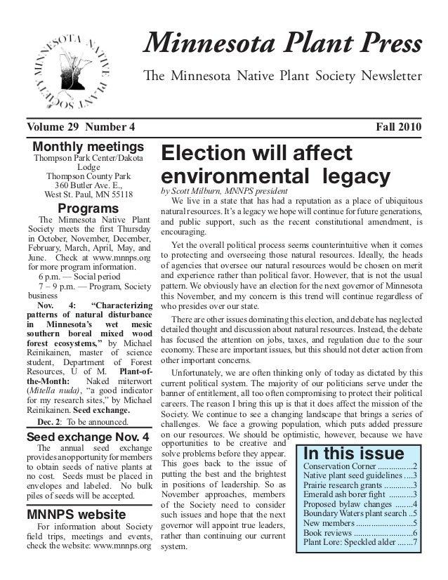 Minnesota Plant Press                                The Minnesota Native Plant Society NewsletterVolume 29 Number 4      ...