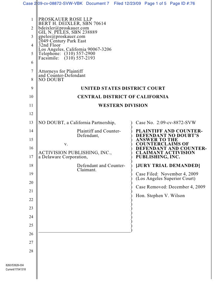 Fall 2010 open memo assignment no doubt v. activision right of publicity california   no doubt's answer to counterclaim federal court pdf
