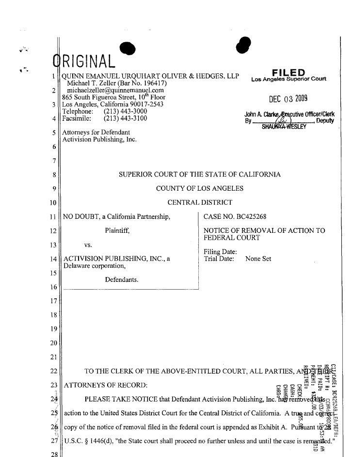 Fall 2010 open memo assignment no doubt v. activision right of publicity california  notice of removal