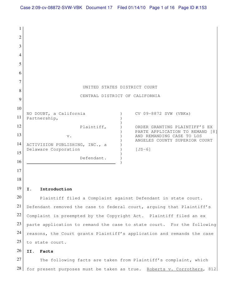 Case 2:09-cv-08872-SVW-VBK Document 17   Filed 01/14/10 Page 1 of 16 Page ID #:153 1 2 3 4 5 6 7                          ...