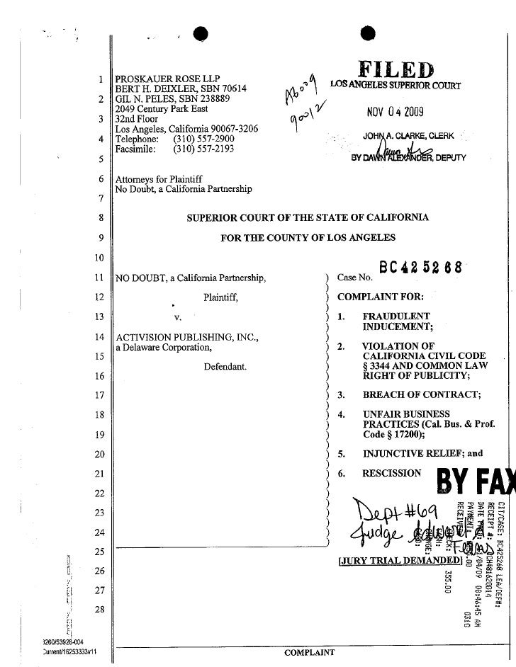 Fall 2010 open memo assignment no doubt v. activision right of publicity california complaint pdf
