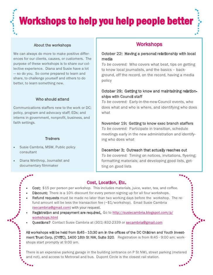 Workshops to help you help people better             About the workshops                                            Worksh...