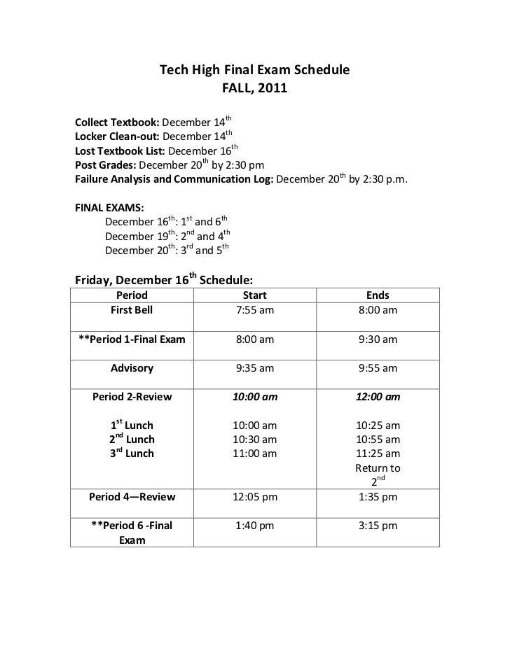 Fall 2011 final exam schedule
