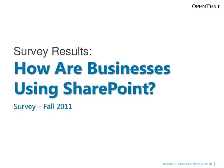 Survey Results:How Are Businesses Using SharePoint?Survey – Fall 2011<br />