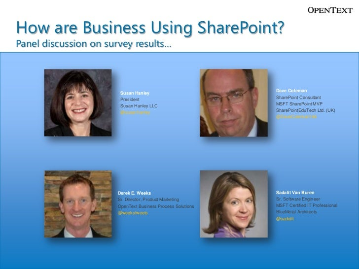 How are Business Using SharePoint?Panel discussion on survey results…                                                     ...