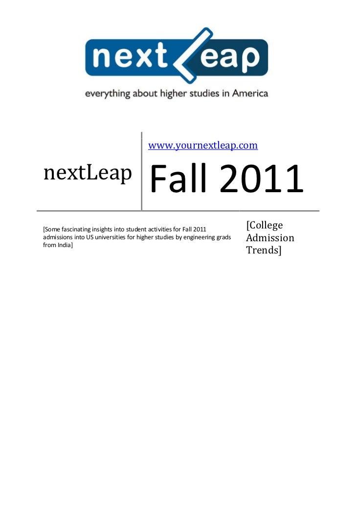 Fall 2011 Higher Studies in US - Report by nextLeap