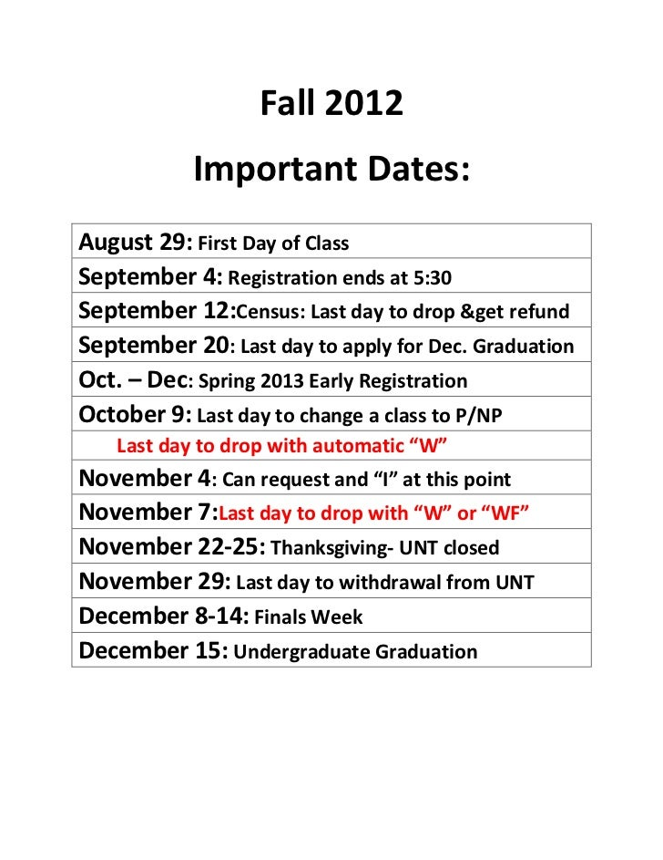 Fall 2012 Important Dates