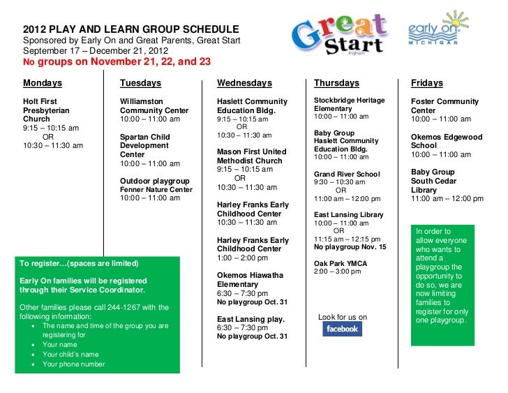 2012 PLAY AND LEARN GROUP SCHEDULE Sponsored by Early On and Great Parents, Great Start September 17 – December 21, 2012 N...