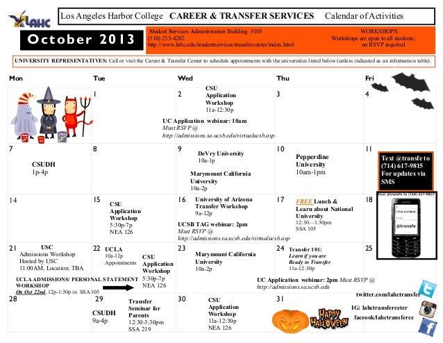 Mon Tue Wed Thu Fri 1 2 3 4 7 8 9 10 11 14 15 16 17 18 21 22 23 24 25 28 29 30 31 October 2013 Los Angeles Harbor College ...