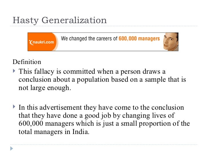 Line Drawing Fallacy Example : Hasty generalization fallacies in the news