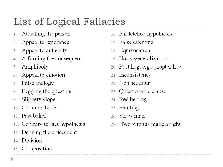 argumentlogical fallacies Fallacy definition a fallacy is an erroneous argument dependent upon an unsound or illogical contention there are many fallacy examples that we can find in everyday conversations.