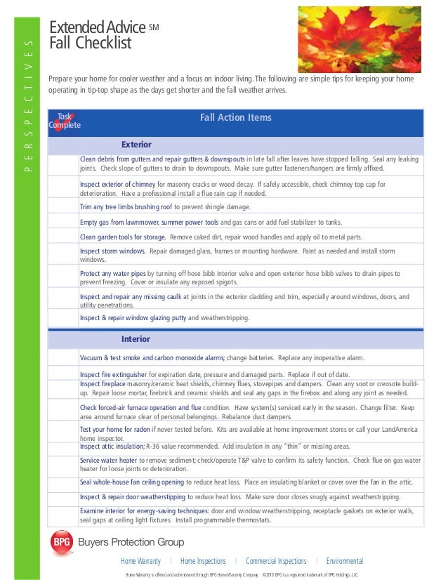 ExtendedAdvice SM Fall Checklist Prepare your home for cooler weather and a focus on indoor living.The following are simpl...