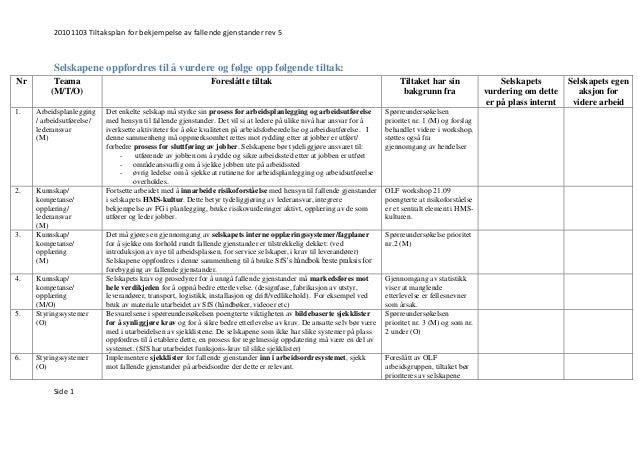 20101103 Tiltaksplan for bekjempelse av fallende gjenstander rev 5 Side 1 Selskapene oppfordres til å vurdere og følge opp...